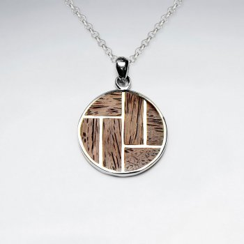 Round Brown Natural Wood Silver Pendant
