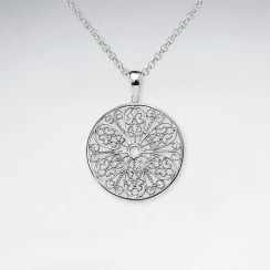 Round Cut Filigree Pattern Dangle Silver Pendant