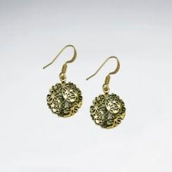 Round Disc Filigree Brass Dangle Earrings