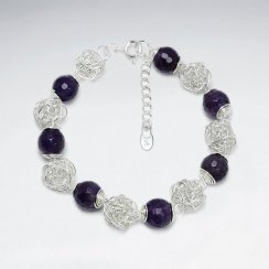 Round Faceted Amethyst Silver Bracelet With Silver Wirework Ball