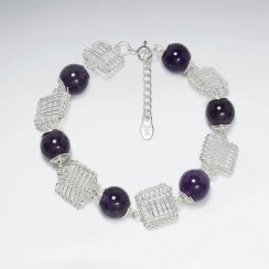 Round Faceted Amethyst Silver Bracelet With Silver Wirework Square