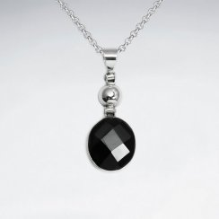 Round Faceted Black Stone Dangling Pendant