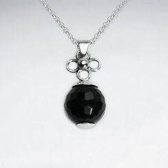 Round Faceted Black Stone Silver Pendant