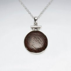 Round Natural Wood Silver Pendant