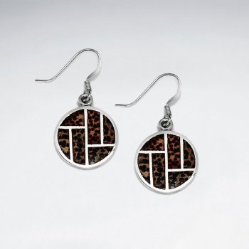 Round Palm Wood Silver Dangling Earring