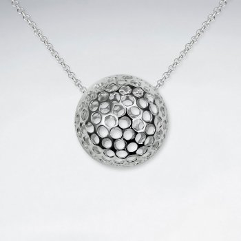 Round perforated golf ball inspired silver pendant from karen round perforated golf ball inspired silver pendant aloadofball Choice Image