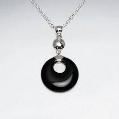 Round Silver Dangling Black Stone Silver Pendant