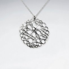 Round Silver Pendant With Flower Cutout