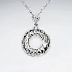 "Round Silver Textured Open Wreath ""O"" Pendant"