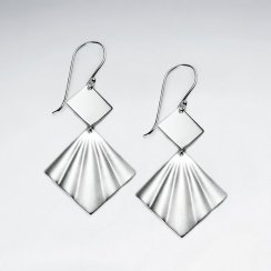 Sand Blasted Silver Double Tiered Diamond Shell Dangle Hook Earrings