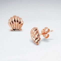 Scallop Seashell Sterling Silver Stud Earrings