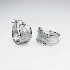 Sensational Silver Decorative Petite U-Hoop Earrings