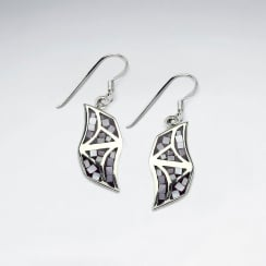 Shell and Silver Sweeping Lines Organic Shape Dangle Earrings