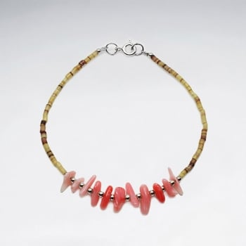 Shell & Pink Coral Edgy Style Bracelet