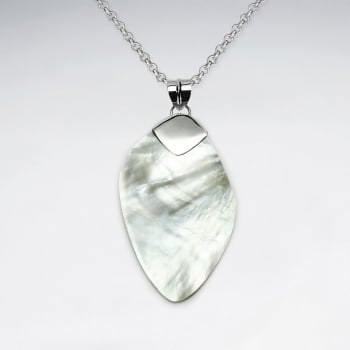 Shimmering Mother Of Pearl & Sterling Silver Oval Pendant