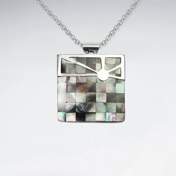 Shimmering Sterling Silver & Shell Designs Square Pendant