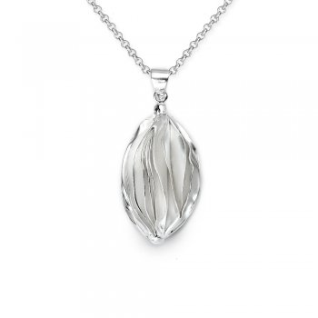 Signature Design Luscious Folds of Sterling Silver Marquise Pendant