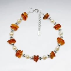 Silver Amber Stone and Pearl Spacer Bracelet