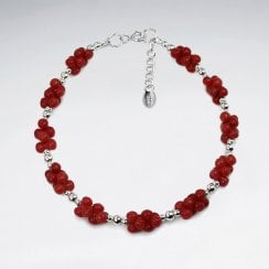 Silver and Red Coral Cluster Bracelet