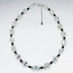 Silver Black Stone & Glimmering Crystal Necklace