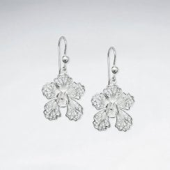 Silver Blossom  Drop Dangle Earrings