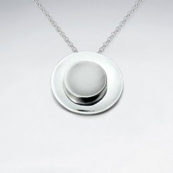Silver Button With Middle Sand Blasted Disc Pendant