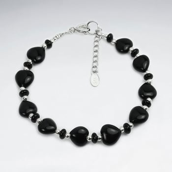 Silver Chain Link Bracelet Set With Black Stone Beads