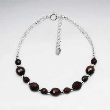 Silver Chain Tiger Eye Faceted Gem Bracelet
