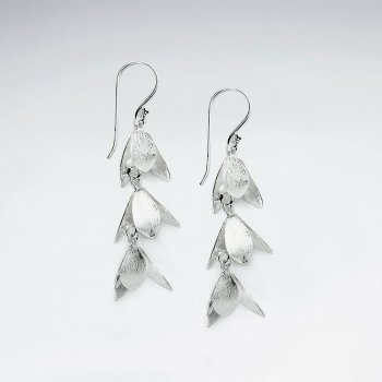 Silver Charming Triple Bluebell Dangle Earrings