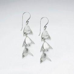 Silver Charming Triple Bluebell Dangle Earrings