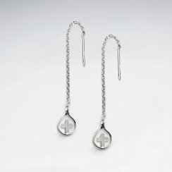 Silver Cross Teardop Dangle Chain Earrings