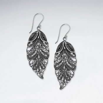 Silver Dangle Drop Filigree Plume Earrings