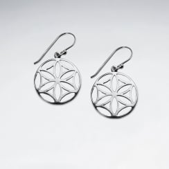 Silver Dollar Flower Circle Earrings in Sterling Silver