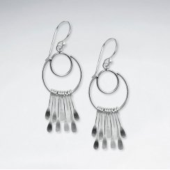 Silver Double Open Circle Multi Dangle Charm Earrings