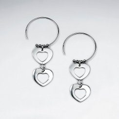 Silver Double Open Heart Round Threader Hook Dangle Earrings