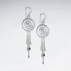 Silver Dream Catcher Style Swirl Chain Dangle Hook Earrings
