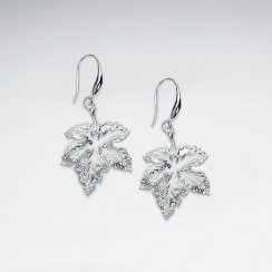 Silver Drop Leaf Inspired Hook Earrings