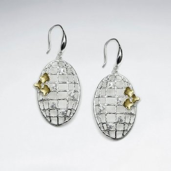 Silver Earring With 18 K Flash Two Tone Plating Oval Net Drop Earrings with Netting Detail and CZ