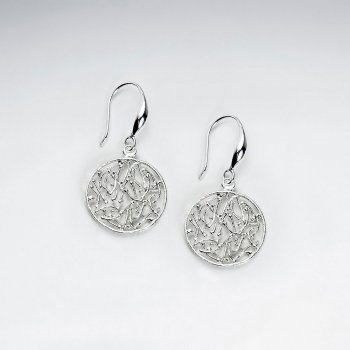 Silver Filigree Medallion Circle Dangle Hook Earrings
