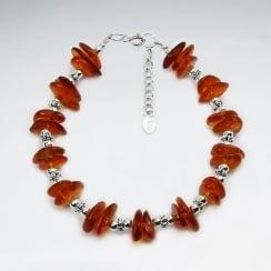 Silver Flat Amber Beaded Stone Bracelet