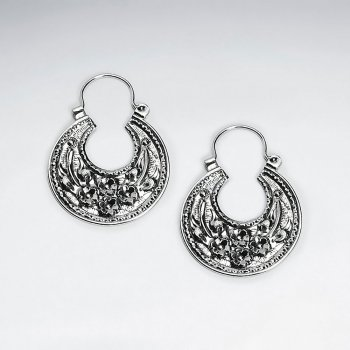 Silver Floral Detail Textured Disc Earrings