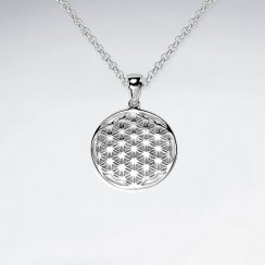 Silver Flower of Life Disc Pendant