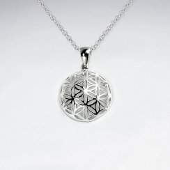 Silver Flower of Life Textured Dome Pendant