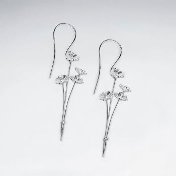 Silver Flower Sprig Drop Hook Earrings