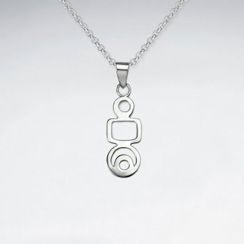 Silver Geometric Person Silhouette Pendant