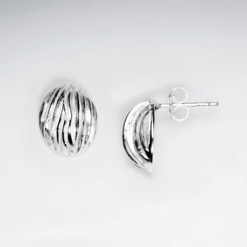 Silver Half Shell Lined Stud Earrings