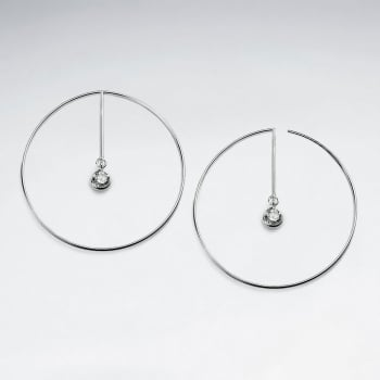 Silver Hoop CZ Dangle Earrings