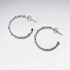 Silver Huggie Twisted Hoop Earrings