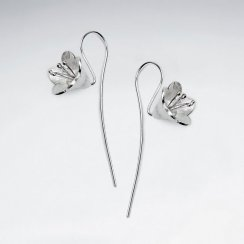 Silver Long Back Drop Hook 3D Flower Blossom Earrings