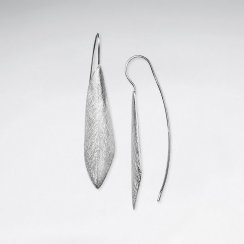 Silver Long Organic Diamond Shape Drop Hook Earrings